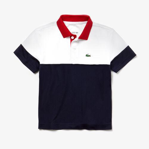 قميص تنس بولو للصبيان مُحاك من قماش البيكيه الذي يسمح بدخول الهواء بالألوان متعددة من مجموعةlacoste Sport